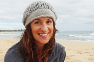 Mel wearing Drizzle hat in SpaceCadet Lyra yarn Colourway: Drizzle